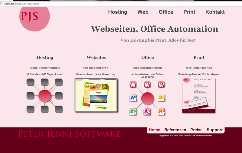 Website Peter Jenni Software, Wolfhausen