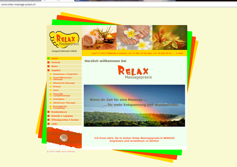 Website Relax Massagepraxis, Mühlrüti